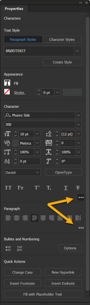 Properties panel indesign