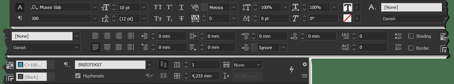 Control panel indesign