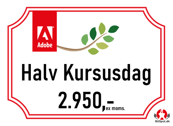 Pris for photoshop kursus for en halv dag
