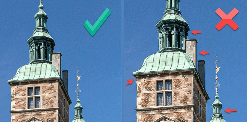 Billede der viser korrekt skarphed versus dårlig skarphed med stråleglans.