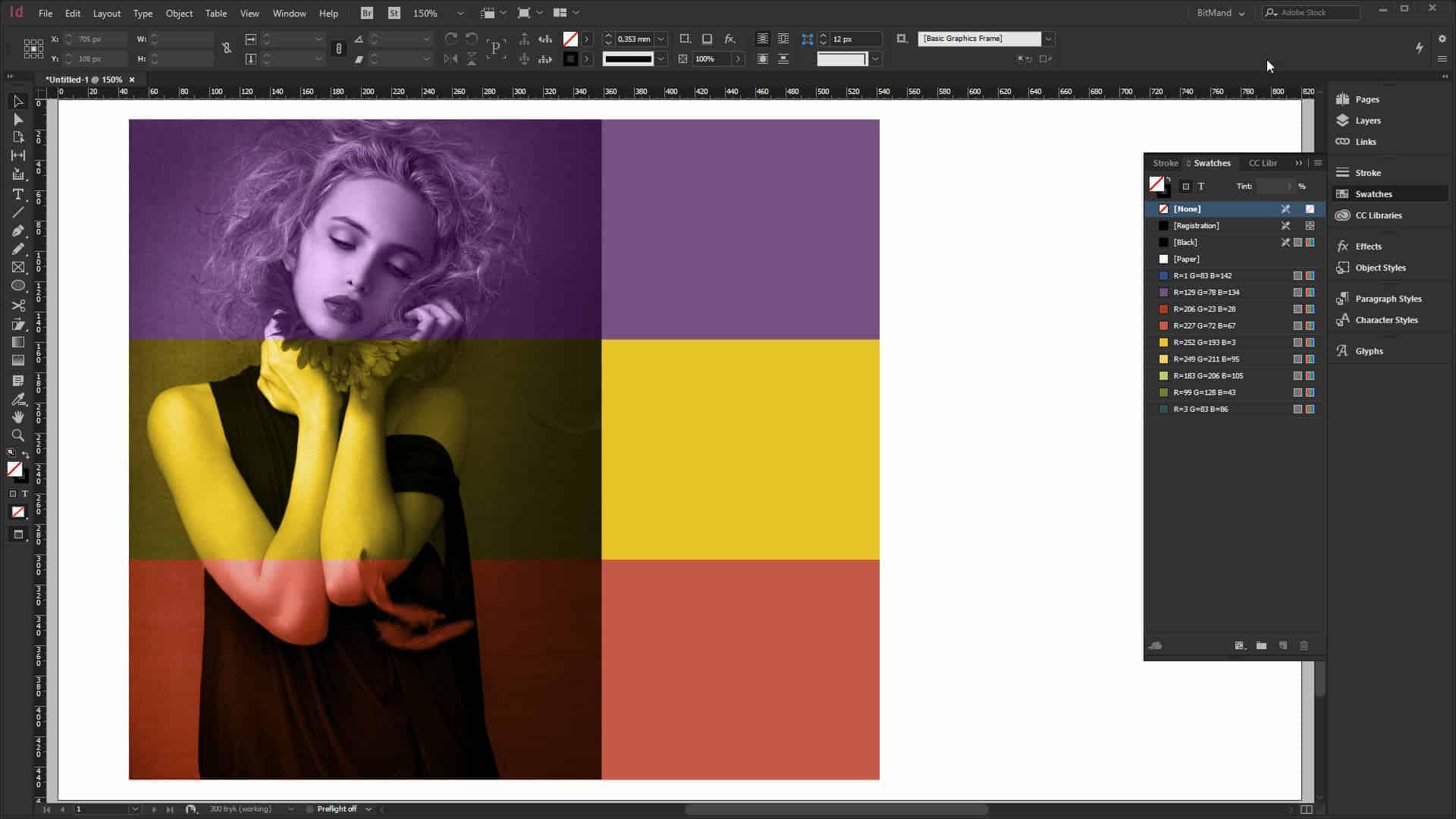 ensfarvet billede i InDesign