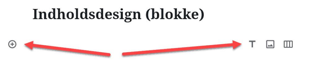 Almindeligt skrivefelt i wordpress med plus menu og kviklinks.