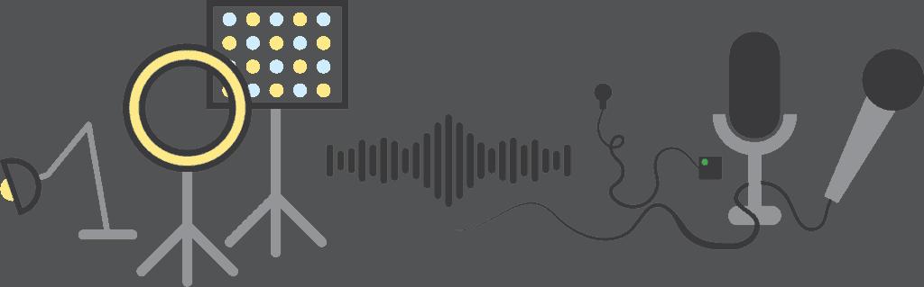 Billedfrise med eksempler på lys og lyd apparater.
