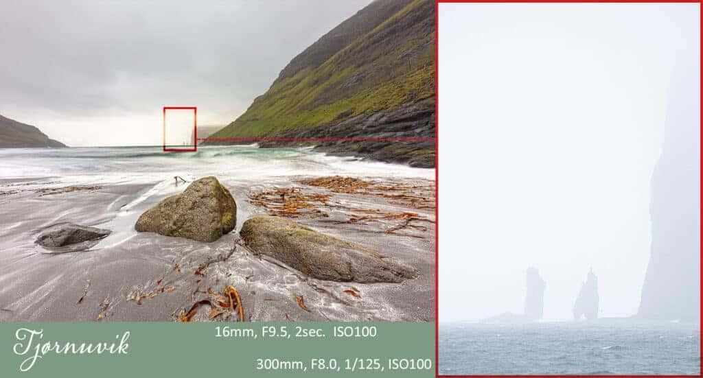 2 billeder som viser forskellen på brændvidde 16mm og 300mm på samme sted. Det er et landskabsfoto. Der er brugt 2 forskellige objektiver